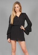Flared Sleeve Dress in Black