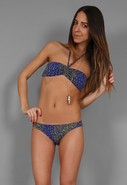 Bandeau Bikini in Blue Cheetah