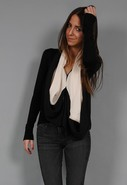 Night &amp; Day Scarf Cardigan in Black/Milk