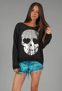 Metal Skull Oversize Sweatshirt in Clean Black