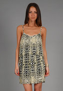Pleated Cami Dress in Yellow Zebra