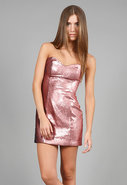 Sequin Sweetheart Dress in Pink