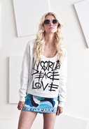 World Love Peace Crop Sweatshirt in White