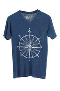 Rebel Yell Compass Vneck Tee in Royal