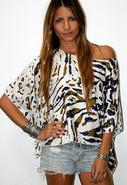 Silk Cape Cool Top in Camo Leopard