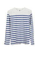 Ever Bazan Long Sleeve Stripe Tee in Blue and Whit