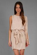 Batwing Sleeve Dress in Matte Gold