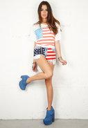 Vintage American Flag Short