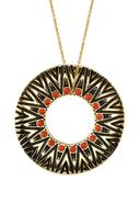 Tribal Circle Pendant in Coral