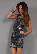 Tamara Pleated Cheetah Dress in Grey