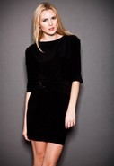 Jersey Mini Dress with Belt in Black