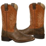 11 inch Wide Square Toe Boots (Chocolate/Orange) -