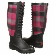Berry Wool Plaid Boots (Berry) - Women's Rain Boot