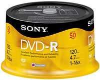 16X DVD-R Recordable DVD Media 50 Pack Spindle - 5