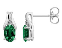 Created Emerald Stud Earrings with Diamonds 1.0 Ca