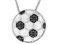 Black Diamond Accent Soccer Ball Pendant Necklace