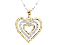 Heart Pendant Necklace with Diamond Accent in Ster