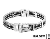 Mens Cable Bangle in Stainless Steel and Rubber