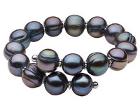 Black Freshwater Pearl 10-12mm Bracelet in Sterlin