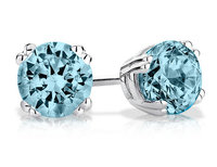 6mm Blue Topaz Stud Earrings 1.0 Carat (ctw) in St