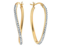 Diamond Oval Hoop Twist Earrings in Sterling Silve