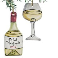 Personalized White Wine Bottle and Wine Glass Orna