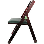Natural Wood Upholstered Folding Chair with Mahoga