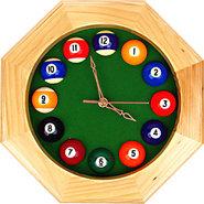 Billiards Octagonal Wooden Wall Clock