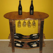 Handmade Wooden Barrel Wine Tasting Table