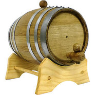 Oak Beverage Dispensing Barrel with Galvanized Ste