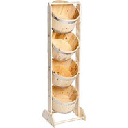 4-Tier Pine Bucket Display Rack