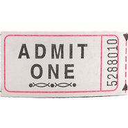 White Admit One Single Roll Tickets