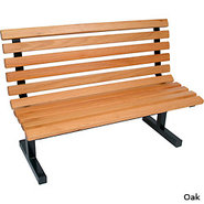 John Boos Wooden Park Bench with Back