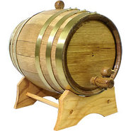 Oak Beverage Dispensing Barrel with Brass Bands