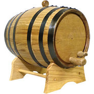 Oak Beverage Dispensing Barrel with Black Steel Ba