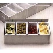 Bar Garnish Tray in Stainless Steel - 4 Compartmen