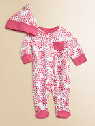 Infant's Floral Footie and Beanie Set