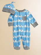 Infant's Elephant Print Footie and Beanie Set