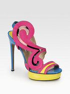 Swirl Motif Patent Leather & Suede Sandals