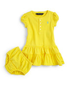 Infant&#39;s Ruffled Henley Dress &amp; Bloomers Set