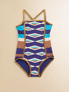 Toddler's & Little Girl's Hayley Striped Maillot