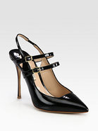 Patent Leather Double Strap Slingback Pumps