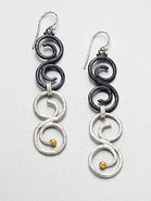 Sterling Silver & 24K Gold Vortex Drop Earrings