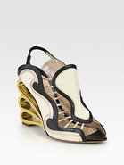 Mixed Media Swirl Wedge Sandals