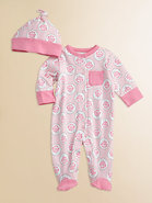 Infant's Rose Medallion Footie and Beanie Set