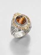 Cognac Quartz, Citrine, Sterling Silver and 18K Ye
