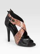 Layn Snakeskin &amp; Suede Crisscross Sandals