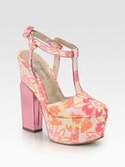 Brocade T-Strap Mary Jane Platform Pumps