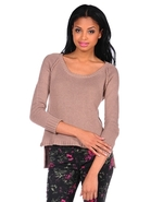 Carly Wide Scoop Raglan Top in Beige