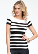 - Striped Rib Tee - Online Exclusive - Black/White